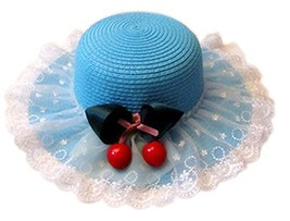 Summer Fashion Sun Hat For Kids With Bowknot Decor&Lace Blue