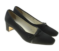 VTG Nina Comfort Womens Black Low Heels Pumps Shoes Size 5.5 M Bow Detail - $16.82