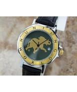 Mens Hunting World 36mm Gold Plated Quartz Dress Watch w/Date, c.2000s S... - $528.91