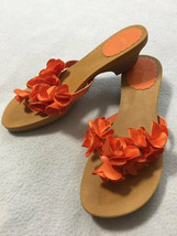 Gymboree Tropical Bloom Big Girls 4 Orange Flower Flip Flop Heels Shoes - $16.99
