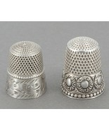 Two Antique Stern Bros Sterling Silver Thimbles Size 8 - $49.99