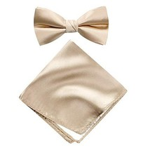 Spring Notion Men's Solid Color Satin Microfiber Bow Tie and Hankerchief Set Cha