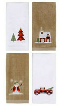 Fingertip Towels Buffalo Plaid Christmas Plaid Set of 4 Embroidered Red ... - $39.48