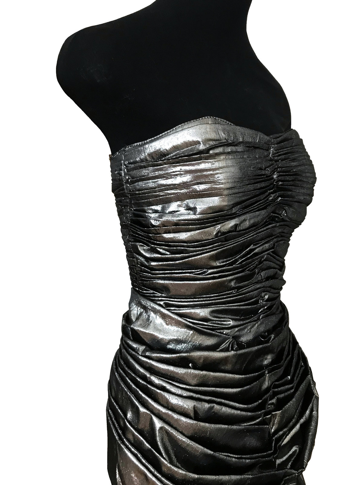 80s Etienne Brunel Paris Silver Metallic Lame Strapless Ruched Swing Party Dress image 7