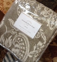 Pottery Barn Set 2 Alessandra Drape Charcoal Gray 96L Floral Curtain Pol... - $258.00