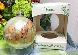 BAby's First Christmas 1977 Glass ornament Ball Vintage baby with reindeer read - $34.60