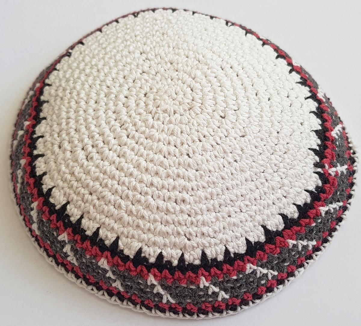 "Knitted white kippa with multicolor border KIPPA 5.9""/15cm Yarmulke Kipa cap"