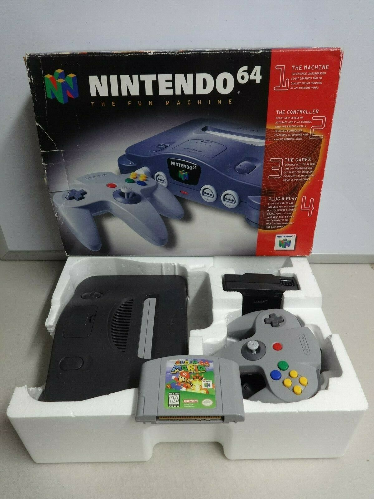 Primary image for Nintendo 64 N64 Video Game Console System Bundle OEM Controller Super Mario IOB