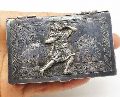 Primary image for MEXICO 925 Sterling Silver - Vintage Antique Etched Scene Cigarette Case - T1452