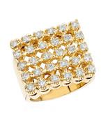 2.50CT Corte Redondo 5 Fila Diamante Anillo 14K Acabado de Oro Amarillo ... - $467.11