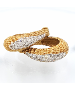 Panetta Vintage Rhinestone Hoop Earrings in Brutalist Modern Style - $89.00