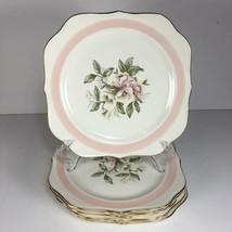 Set of 8 Homer Laughlin Eggshell Nautilus Pink Petal Square Salad Plates... - $59.39