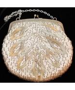 Vintage Silk Beaded Evening Bridal Formal Bag Handbag Purse Made in Hong... - $25.72
