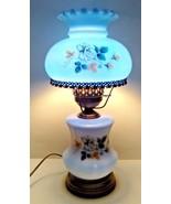 Vintage GWTW Hurricane Lamp 3 way Electric White Glass w/ Blue Interior ... - $74.95