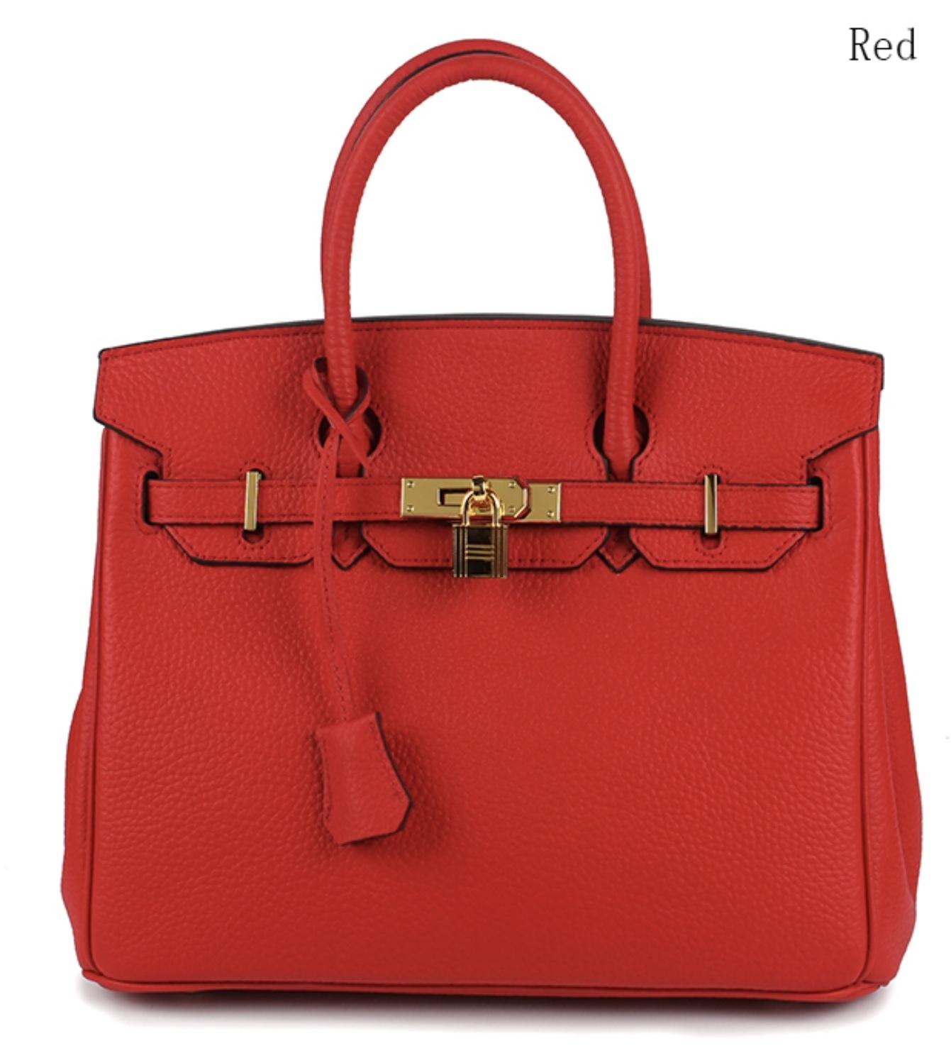 New 35cm Pebbled Leather Birkin Style Handbag Shoulder Bag Satchel Purse 1946L