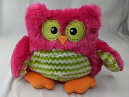 """Hot Pink Owl Plush Green Zigzags 13"""" Mty International Stuffed Animal Toy - $17.95"""