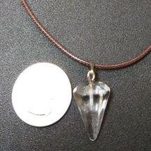 Natural Healing Clear Quartz Pendulum Necklace Women, Men Meditation B Valentine image 3