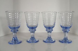 Libbey SIRRUS Light Blue Glass Glassware Wine Water Goblet (s) LOT OF 4 - $37.57