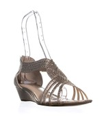 CC35 Ginifur Sequined Braided Sandals, Platino, 6.5 US - $28.79