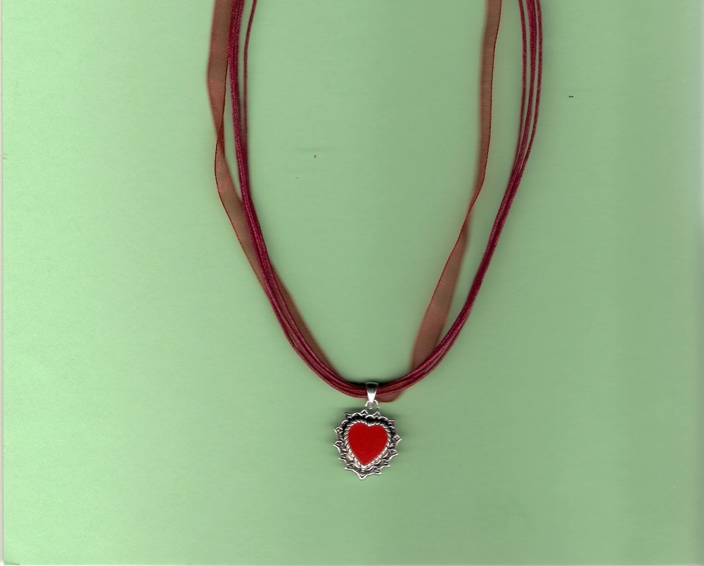 Red Enamel Heart with Silver on Voile Cord Reduced on clearance