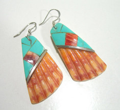 VINTAGE TURQUOISE & SHELL ARTISAN STUDIO STERLING SILVER LARGE EARRINGS - $215.00