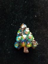 RARE VTG Christmas Tree Brooch Pin Rivoli Green Helioptrope Rhinestone JULIANA? - $69.30