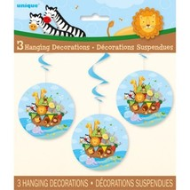 "Noah's Ark Baby Shower 3 Ct Hanging Swirls 26"" Zebra, Lion - $3.99"