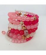 Pink Wrap Stack Bracelet Swarovski Crystals Copper Tone Boho Bling Frosted - $39.59