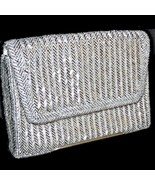 La Regale Made in Hong Kong Silver Bugle Bead Envelope Clutch Purse Even... - $74.99