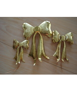 Brass Tin Textured Bows, Crafts, Holiday Plant Adornments  - $6.99