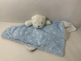 Blankets & Beyond white teddy bear polka dots blue security blanket baby... - $12.86