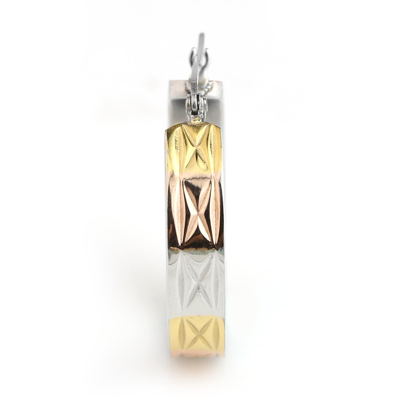 Bold Polished Tri-Color Silver, Gold & Rose Tone Hoop Earrings- United Elegance