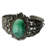 Navajo Coin Silver Bracelet w Turquoise Silver ... - $325.00