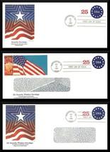 Lot of 3 FDC 25c Security Envelope Window US Flag Cachet Washington DC 1989 - $11.50