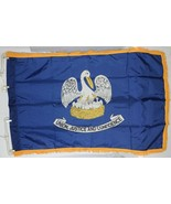 Valley Forge Louisiana Flag Blue Pelican Pole Hem Fringe Three By Five Feet - $24.99