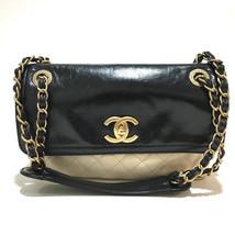 CHANEL Matelasse Bycolor ChainShoulder Shoulder Bag Black x Ivory Lambskin - $1,900.00