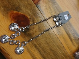 Paparazzi Long Necklace & Earring Set(New)Silver W/ Clear Gems 553 - $7.69