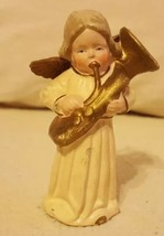 Angel w Tuba (?) Instrument Figurine fr W Germany vintage decoration 3.5... - $18.69