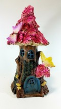 Solar Fairy Flower House Indoor Outdoor Collectable Garden Figuringes an... - $31.00