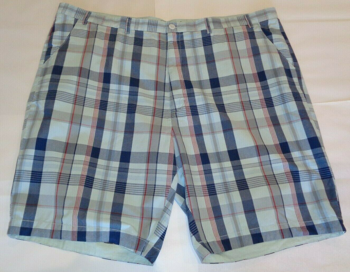Casuals Roundtree & Yorke Size 52 STRAIGHT FIT Light Blue Cotton New Mens Shorts