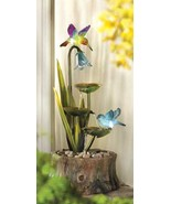 Fountain Hummingbirds glow as sun goes down yard  luminescent - $67.97