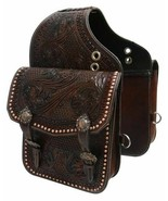 Western Trail Hand Tooled Brown Leather Horse or Motorcycle Saddle Bag Bags - $89.00