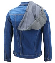 Men's Classic Button Up Removable Hood Slim Fit Stretch Denim Jean Jacket image 12