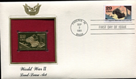 WORLD WAR II: Lend - Lease Act First Day Gold Stamp Issue Sep 3, 1991 - $5.50