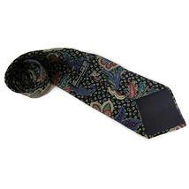 Zylos George Machado Mens Necktie Silk Paisley Black, Red Multi Color image 3