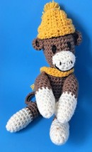 Vintage Crochet Sock Monkey Toy in Hat Scarf Handmade Stuffed Animal - $24.95