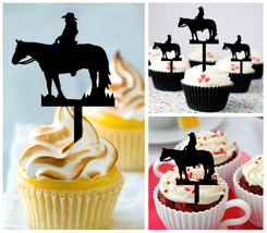 Wedding,Birthday Cupcake topper,silhouette couple-of-cowgirl and horses : 10 pcs - $10.00