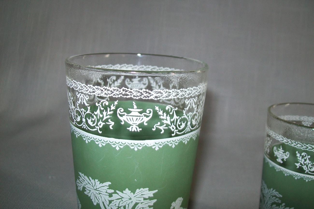 Hellenic Wedge Wood Pattern Green Qty 2 Glasses Jennette Glass Co. 1940-50-60's