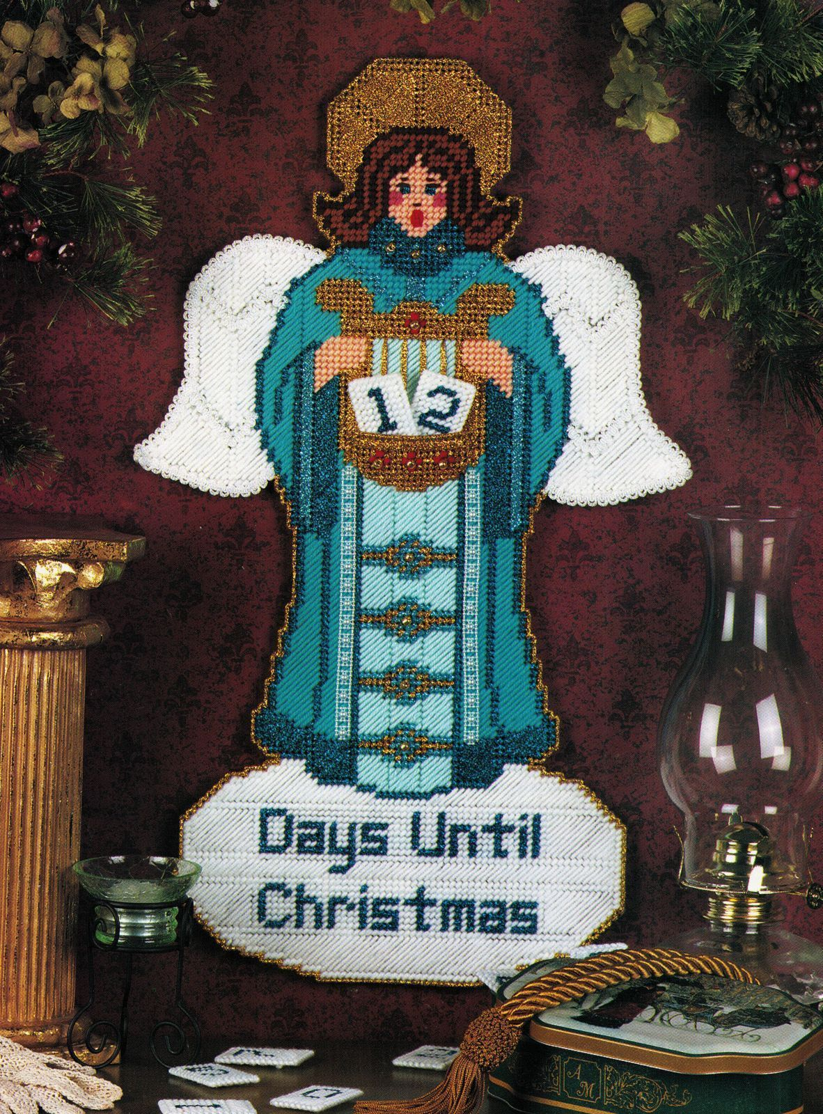 Primary image for Plastic Canvas Xmas Advent Tree Angel Tissue Cover Poinsettia Place Mat Pattern