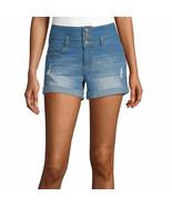 Ymi Women's Juniors High Waisted Denim Shorts Size 3 Medium Wash 3 Butto... - £19.56 GBP